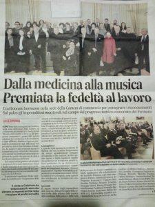 Articolo del Corriere Adriatico che parla del premio ricevuto da Samuela Baiocco dalla Camera di Commercio