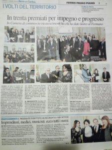 Articolo del Resto del Carlino del 4 febbraio 2018 che parla del premio ricevuto da Samuela Baiocco dalla Camera di Commercio