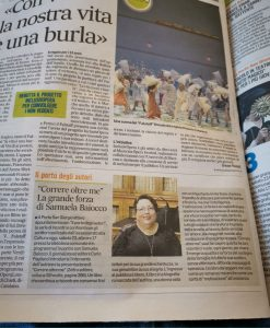 Articolo di quotidiano che parla del libro di Samuela Baiocco