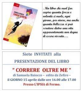 Locandina della presentazione libro di Samuela Baiocco a Fermo del 15 aprile 2019