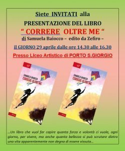 Locandina della presentazione libro di Samuela Baiocco a Porto San Giorgio del 29 aprile 2019
