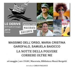 Locandina della presentazione libro di Samuela Baiocco a Macerata del 24 maggio 2019