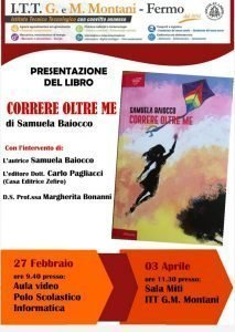 Locandina presentazione libro di Samuela Baiocco a Fermo il 27 febbraio e 3 aprile 2020