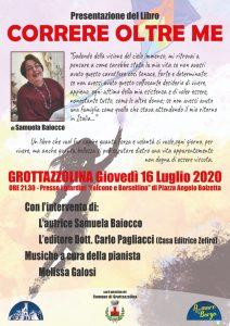 Locandina presentazione libro di Samuela Baiocco a Grottazzolina del 16 luglio 2020